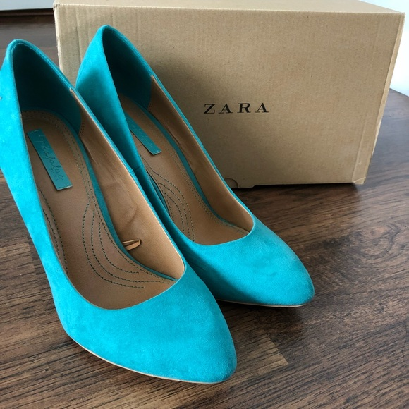 Zara Shoes | Zara Turquoise Suede Pumps